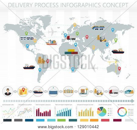 World concept of logistics delivery shipping freight service infographics