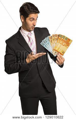Business Man Holding Brazilian Money / Real