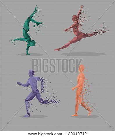 Geometric particle run dance people. Colored geometric particles in the form of a set of people who are jumping run, tantsuyu and standing on one hand. Set sport athletes. Vector illustration