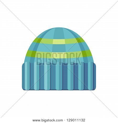 Winter blue wool hat icon. Knitted winter woolen cap isolated on white background. Flat icon winter snowboard hat cap. Vector illustration