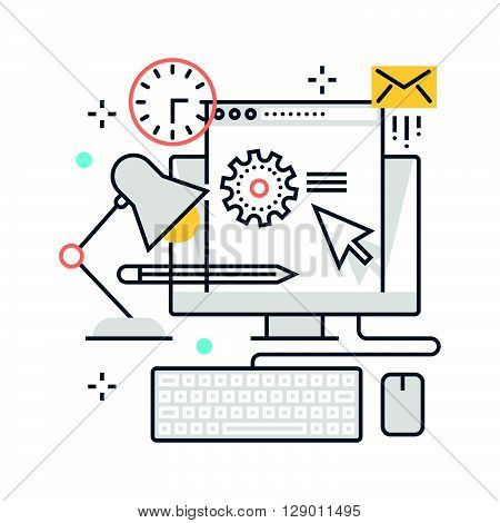 Office work hours concept illustration icon background and graphics. The illustration is colorful flat vector pixel perfect suitable for web and print. It is linear stokes and fills.
