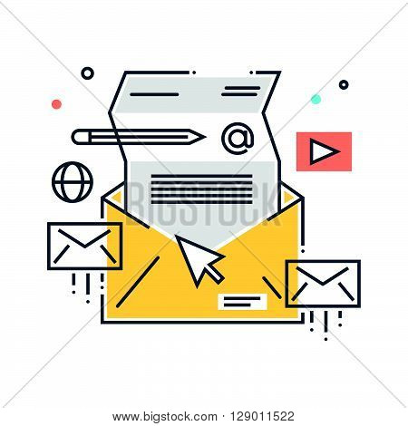 Mailing concept illustration icon background and graphics. The illustration is colorful flat vector pixel perfect suitable for web and print. It is linear stokes and fills.