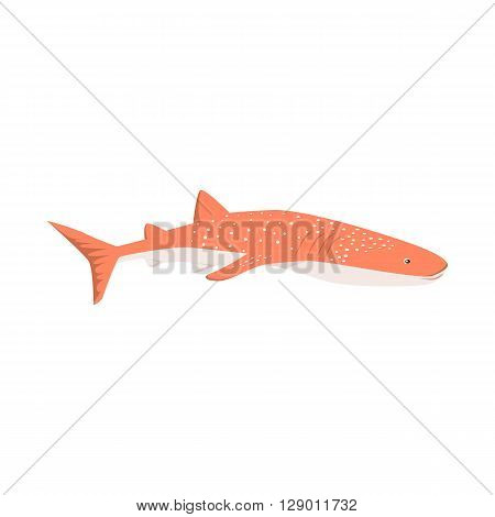 Marine predator shark design flat. Dangerous predator shark with fins and tail and sharp teeth. Aggressive fish tiger shark in orange color living in the ocean or the sea. Vector illustration
