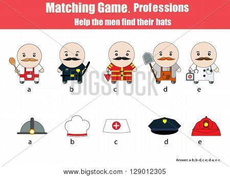Match men with hats hildren education game. Learning professions theme for kids books worksheets with answer