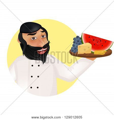 Jewish holiday of Shavuot illustration. Jewish religion chef holding fruits cheese and wheat ears.