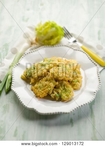 croquette with leek and lettuce