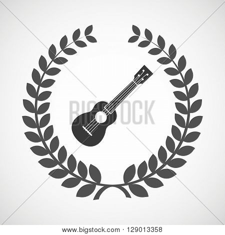 Isolated Laurel Wreath Icon With  An Ukulele