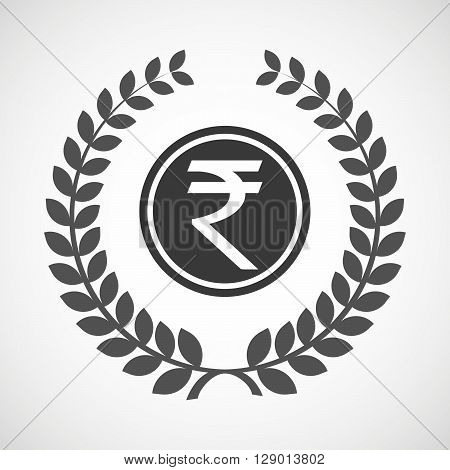Isolated Laurel Wreath Icon With  A Rupee Coin Icon