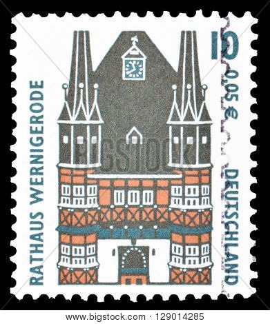 GERMANY - CIRCA 2000 : Cancelled postage stamp printed by Germany, that shows Town hall in Wernigerode.