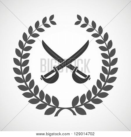 Isolated Laurel Wreath Icon With  Two Swords Crossed