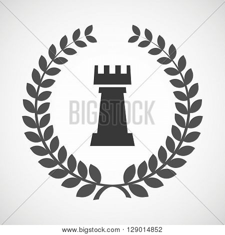 Isolated Laurel Wreath Icon With A  Rook   Chess Figure