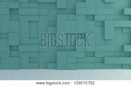 Abstract image box random levels wall pastel color background.