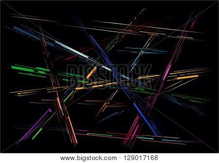 Abstract composition of colored lines of different thickness
