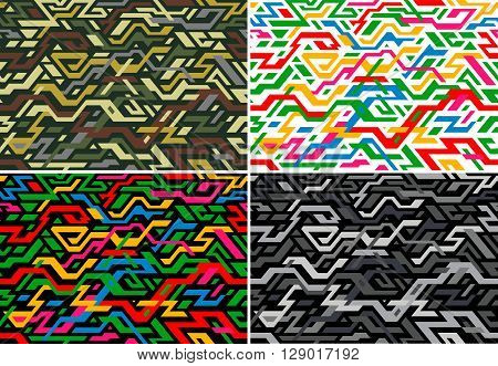 Set of abstract seamless pattern in digital style