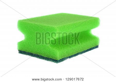 Green Kitchen Sponge Isolated On White Background