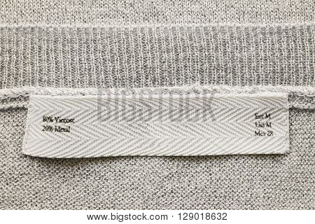 Fabric composition label on knitted cloth as a background