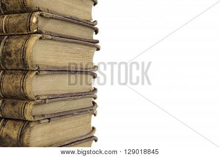 Seven Stacked Old Shabby Book Isolated On White Background Closeup Front View