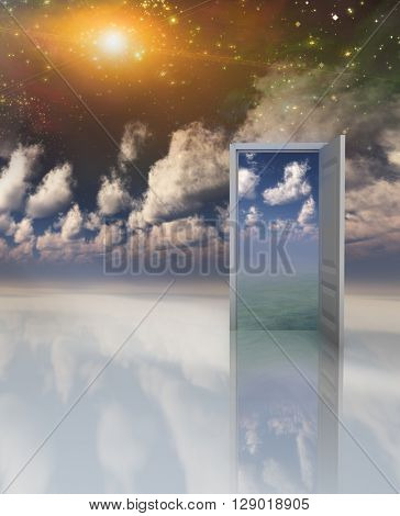 Doorway in serene space opens into other realm 3D Render