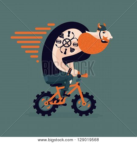 Humorous vector illustration with a bearded biker on isolated background. Funny man on a bycicle