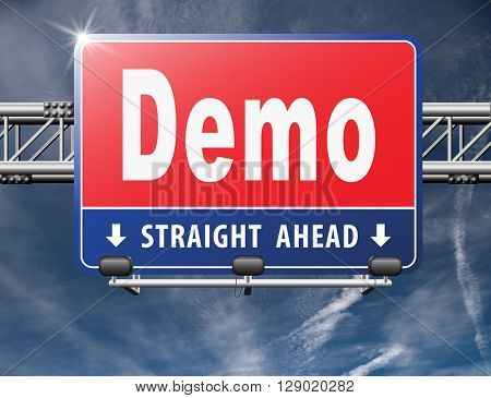 Demo for free trial download demonstration, billboard.