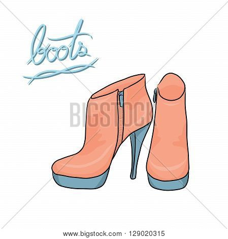 A pair of pastel modern boots fashion shoes cartoon vector in hand-drawn style