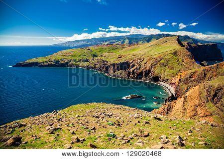 colorful landscape at Ponta do Sao Lourenco Madeira Portugal