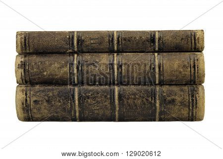 Three Old Shabby Books In Stack Isolated On White