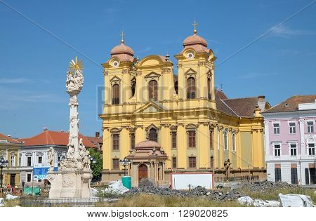 Timisoara Catholic Cathedral, work in progress in Union Square, Romania