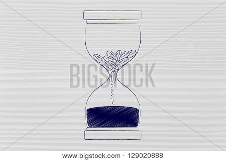 Coins Disappearing Into Sand Into An Hourglass