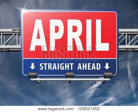 april spring month event calendar, roas sign billboard.