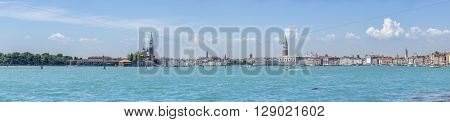 Panorama of Venice, Italy. From San Giorgio tower on the left side to San Marco on the right. Multiple images stitched