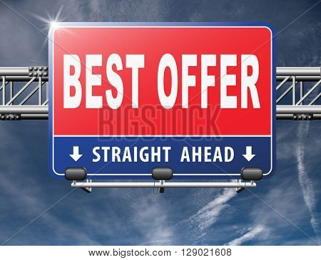 best offer, lowest price and best value for the money. Web shop or online promotion for internet webshop, road sign billboard.