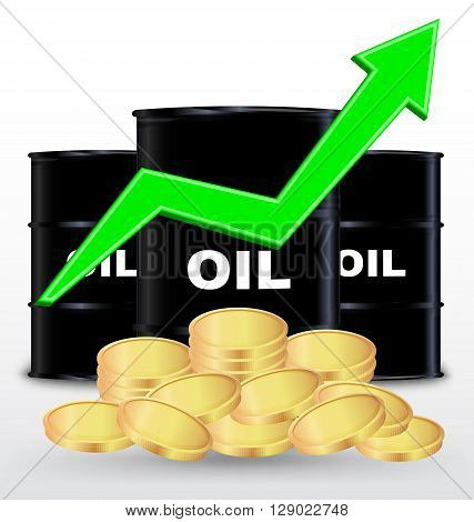 Oil Barrels And Stack Of Gold Coin On White Background Price Up Concept