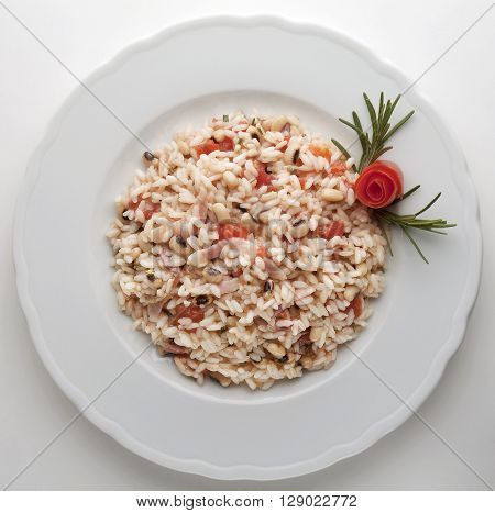 Risotto with Bacon beans tomato top view