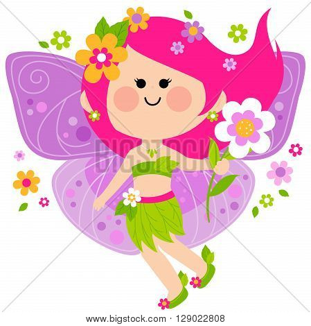Vector Illustration of a beautiful spring fairy.
