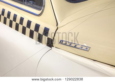 MOSCOW RUSSIA - April 24.2016: Rare car Pobeda with taxi logo on board