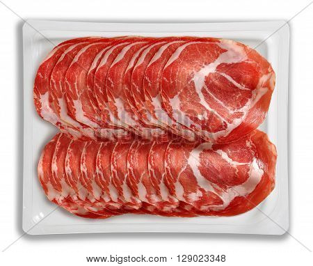 Tray Packaged of Presliced air cured pork meat top view