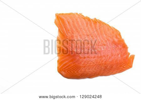 Salmon fillet isolated on white background with copy-space close-up