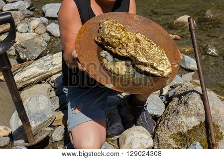 Gold Nugget Mining From The River