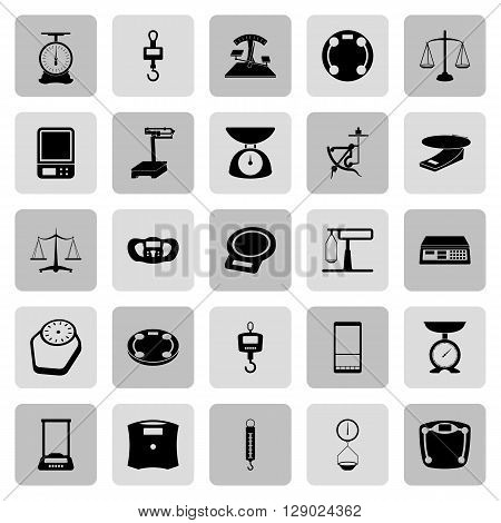 25 web icon set - scales, weighing, weight, balance