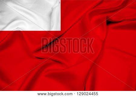Waving Flag of Abu Dhabi, with beautiful satin background.