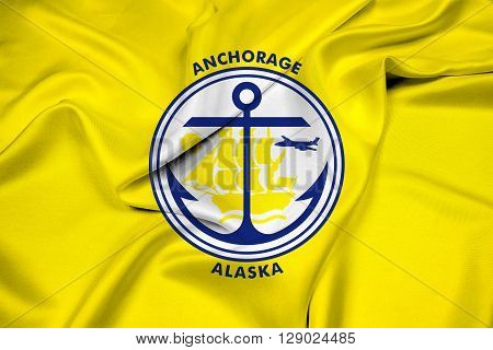Waving Flag of Anchorage Alaska, with beautiful satin background.