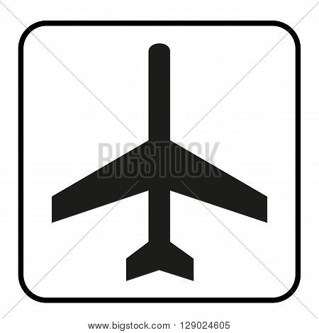 a black and white icon for an airport