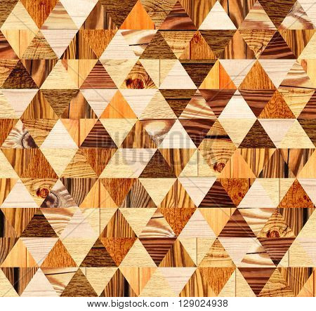 Grunge background with wooden triangles patterns of different colors