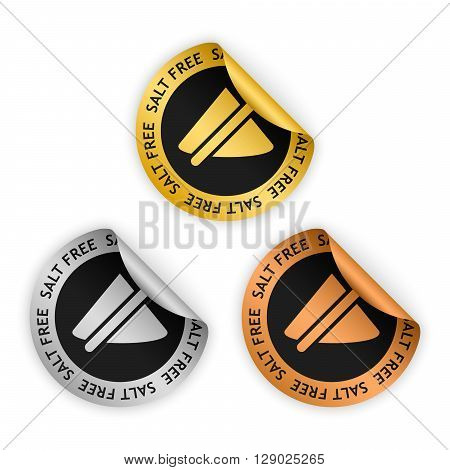 vector gold silver bronze bent stickers with symbol of salt free