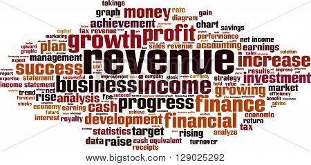 Revenue word cloud concept. Vector illustration on white