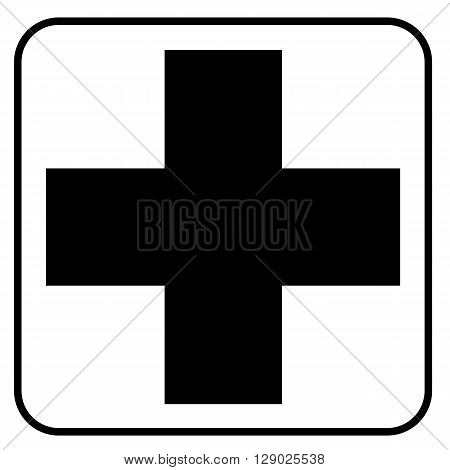 a black symbolic pictograph for a hospital