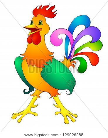 rooster cartoon with isolation on a white background