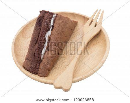 chiffon cake isolate  on wood white background
