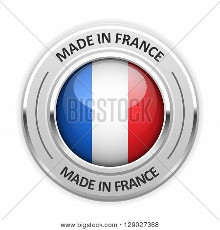 Silver medal Made in France with flag